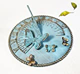 Brass Decorative Sundial 10'' Inches Wide - With 4 Butterflies