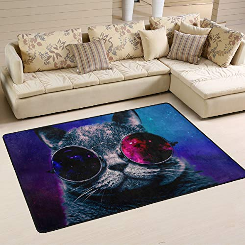 XiangHeFu Personalized Area Rugs Starry Sky Cat Glasses 3'x2' (36x24 Inches) Floor Doormats Mat Soft for Living Room Bedroom Home Kitchen Decorative
