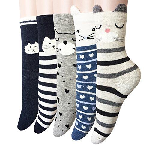 Oureamod Cartoon Animal Womens Girls Cotton Crew Socks 5 Pack (US(5-9), Cat 3)