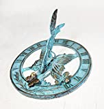 Brass Butterfly Sundial 8'' Inches Wide - With 2 Little Butterflies