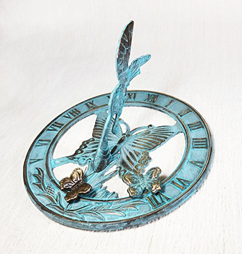 Brass Butterfly Sundial 8'' Inches Wide - With 2 Little Butterflies by Taiwan
