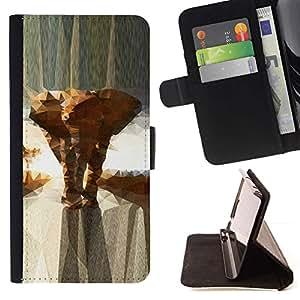 For Apple (5.5 inches!!!) iPhone 6+ Plus / 6S+ Plus Case , Polígono Increíbles Beautiful Animals- la tarjeta de Crédito Slots PU Funda de cuero Monedero caso cubierta de piel