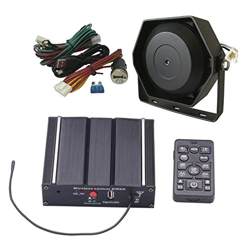 AS 100W Police Siren with Speaker Wireless Remote Microphone Wiring Harness Auxiliary Light Terminals 20 Tones Fit for Police Ambulance Fire Engineer Volunteer Vehicles 12V DC (AS7100D-SPK0041)