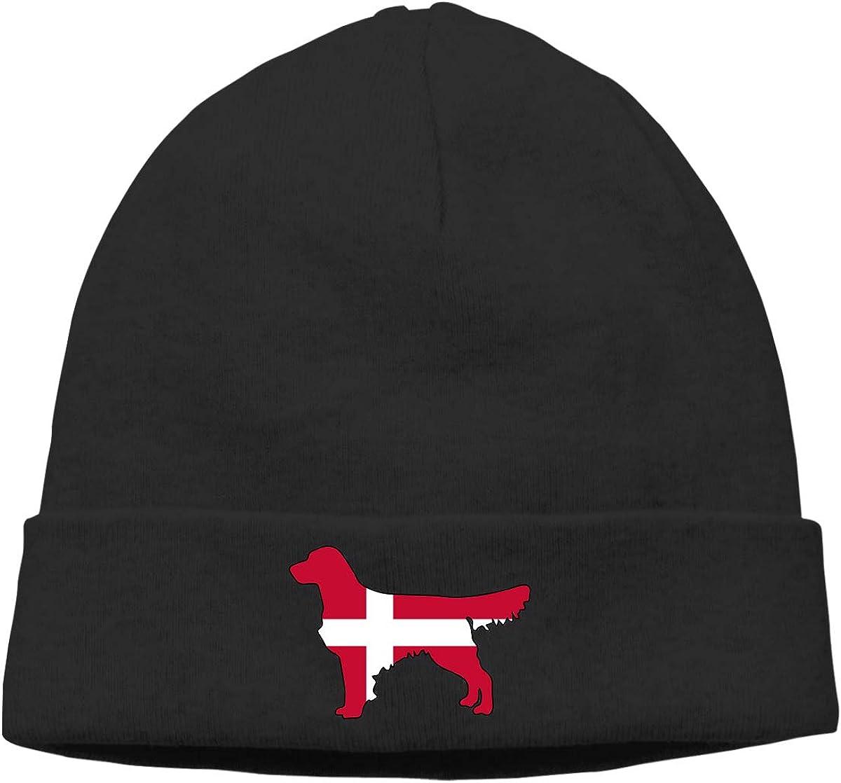 Thin Stretchy /& Soft Winter Cap Denmark Flag Golden Retriever Dogs Men Womens Solid Color Beanie Hat