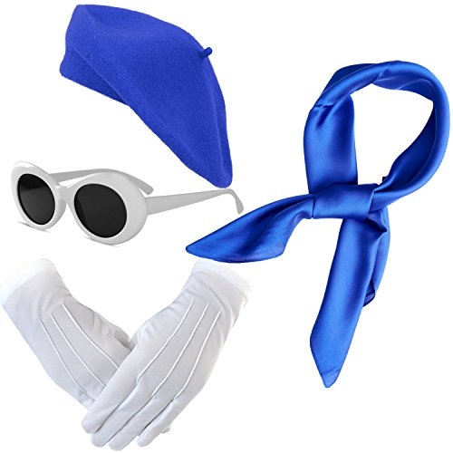 eforpretty French Themed Costume accessories Set - Beret Hat,Sheer Chiffon Scarf,Deluxe Theatrical Gloves,Retro Oval Clout Goggles Bold Sunglasses For Womens & Girls (Royal-Blue) (Set Scarf Beret)