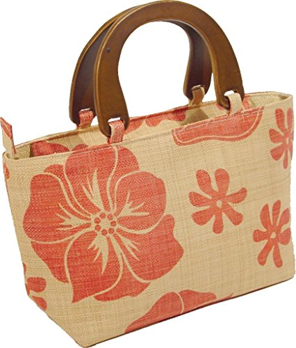 - Ladies Woven Raffia Tropical Resort Straw Tote Bag - Natural/Red