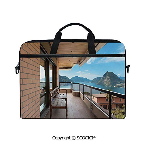 Lugano Messenger - Durable Waterproof Printed Laptop Shoulderr Bag Lugano Lake Panoramic View from Terrace of Apartment Mountains and Sea Computer Briefcases for 15 inch