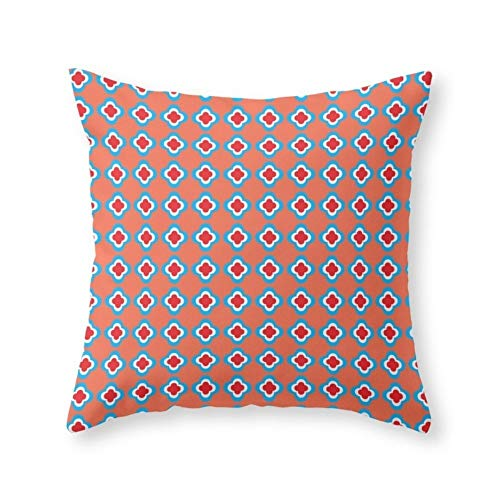 Coral, Red, and Turquoise Clovers Throw Pillow Indoor Cover (18