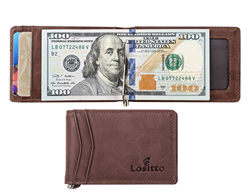 Bi Fold Leather Distressed (RFID Blocking Bifold Slim Genuine Leather Thin Minimalist Front Pocket Wallets for Men Money Clip Top Grain Leather (Chocolate brown-Distressed top grain leather))