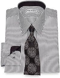 Men's Non-Iron Cotton Bengal Stripe Button Cuff Dress Shirt Black/White