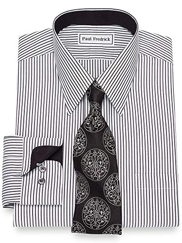 Paul Fredrick Men's Non-Iron Cotton Bengal Stripe Button Cuff Dress Shirt Black/White 15.0/34 ()