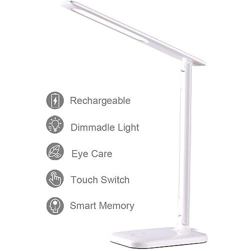 Lámpara Escritorio Lámpara LED de Mesa Regulable Recargable con USB 3 Modos de Luces 3 Niveles de Brillo Control Táctil Protección a la Vista Plegable Luz brillante Energéticamente Eficiente