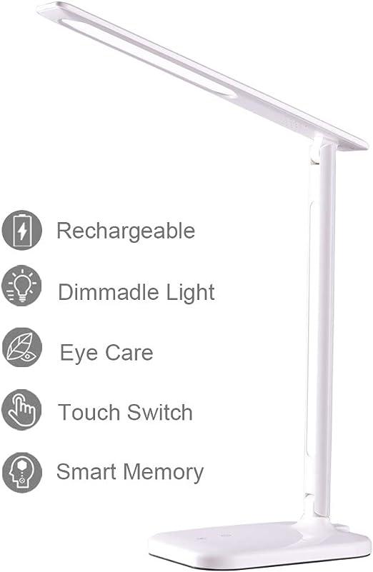 Lámpara Escritorio, Lámpara LED de Mesa Regulable Recargable con ...