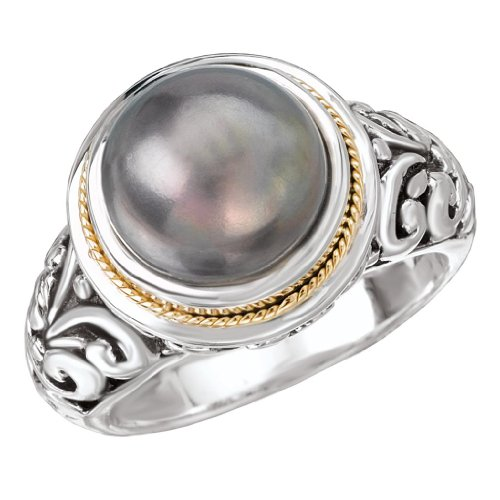 925 Silver & 18k Gold Ring with Black Dyed Mabe Cultured Pearl- Size - Ring Mabe Pearl Gold