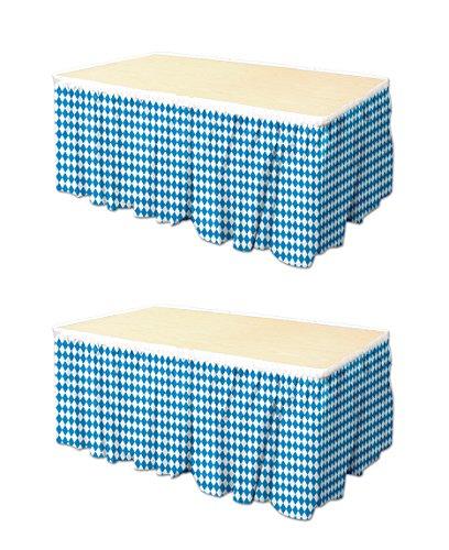 Beistle S58078AZ2, 2 Piece Oktoberfest Table Skirtings, 29'' x 14' (Blue,White)
