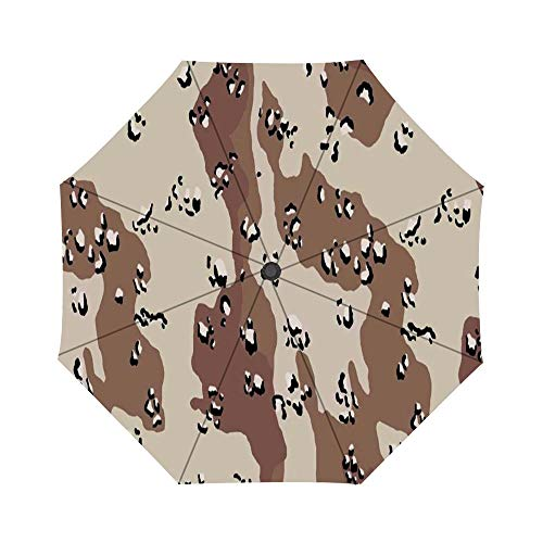 Chocolate Chip camouflage Pattern Windproof Compact One Hand Auto Open and Close Folding Umbrella, Compact Travel Umbrella Folding Rain Outdoor Umbrellas
