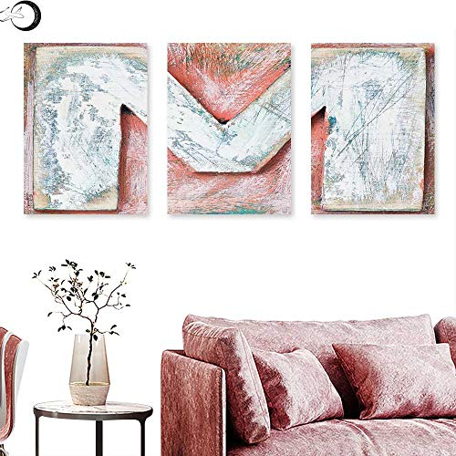 J Chief Sky Letter M Wall hangings Old Wood Capital Letter M Natural Worn Out Look Texture Language Image Triptych Art Coral White Cream Triptych Art Canvas W 24