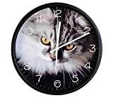 Luckly candy Cute Cat theme Background Super Silent Wall Clock Quiet Sweep Decorative Clocks (14Inch, Black3)