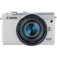 Canon EOS M100 Mirrorless Camera w/ 15-45mm Lens & 55-200mm Lens - Wi-Fi, Bluetooth, and NFC enabled (White)