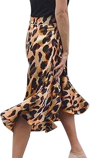 Falda Leopardo Mujer, Moda Mujer Leopardo Estampado Volantes Corto ...
