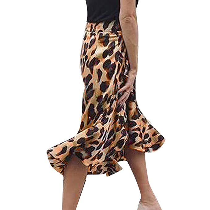 Amazon.com: iDWZA Fashion Women Leopard Print Ruffles Short Empire Waist Knee-Length Skirt: Clothing