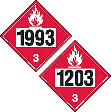 LegendFUEL OIL 3 with Graphic Pack of 10 Accuform MPL303VS10 Adhesive Vinyl Hazard Class 3 DOT Placard 10-3//4 Width x 10-3//4 Length White on Red