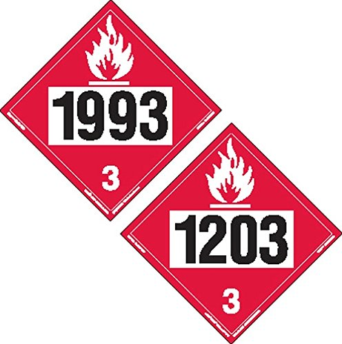 Labelmaster ZTV20393 Two-Sided 4-Digit Hazmat Placard, 1993 Flammable/1203 Gasoline, Rigid Vinyl (Pack of (4 Digit Label Printer)