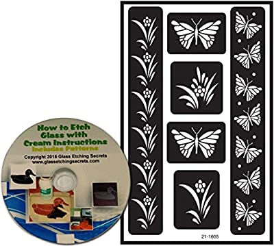 Butterfly Stencils, Armour Etch Over N Over Reusable with border designs + Free How to Etch CD