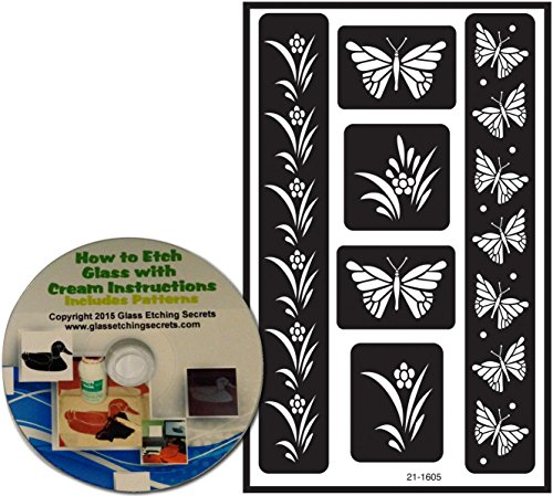 Butterfly Stencils, Armour Etch Over N Over Reusable with border designs + Free How to Etch CD (Stencil Cd Designs)