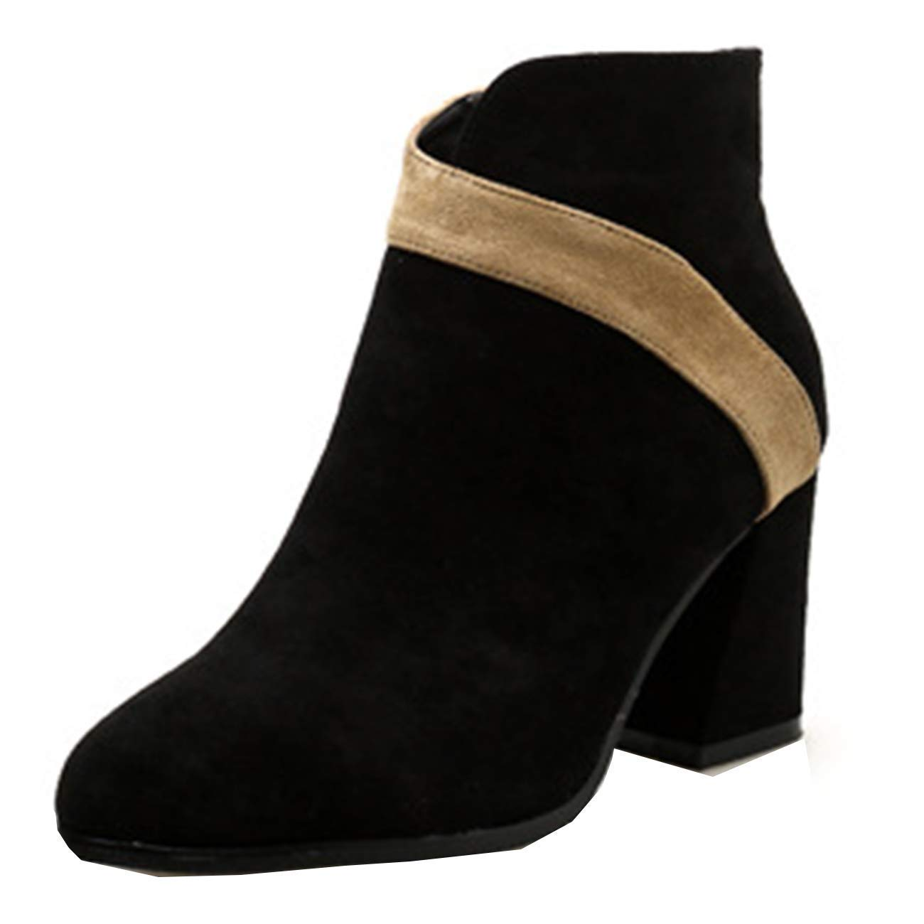ZHRUI Damen Runde-Toe Block-Heel Zip Zip Zip Suede Ankle Stiefel (Farbe   Schwarz, Größe   2 UK) a19c6a