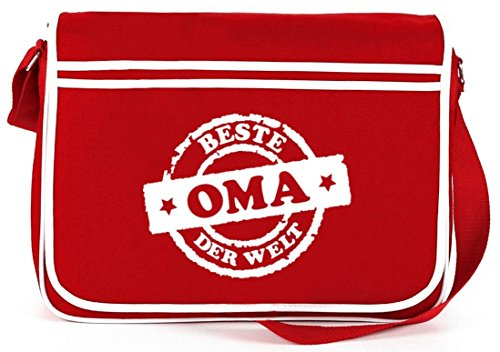 Beste Oma der Welt Stempel, Muttertag Retro Messenger Bag Kuriertasche Umhängetasche Rot