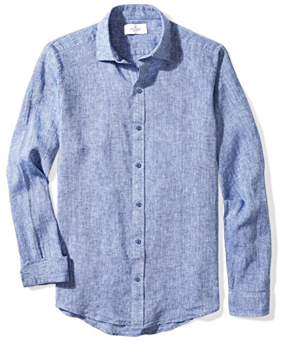 Buted Down - Playera Deportiva de Lino para Hombre, Azul Chambray, Large Tall