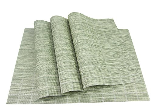 YILIN Table Placemats, Set of 4 per Pack, Place mat Vinyl,Heat-Resistant, Washable Easy to Clean (A-Green) from YILIN