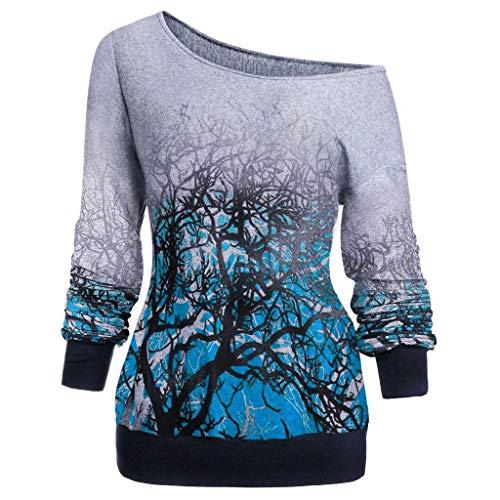 Kauneus Women's Plus Size Gradient Print Skew Neck Long Sleeve Cotton Fashion Pullover Shirt Blouse Blue (Z Series Overshoe)