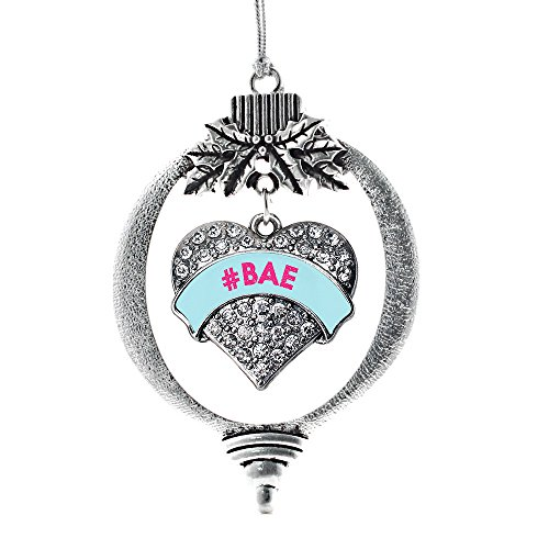 Inspired Silver - #BAE Teal Candy Charm Ornament - Silver Pave Heart Charm Holiday Ornaments with Cubic Zirconia Jewelry