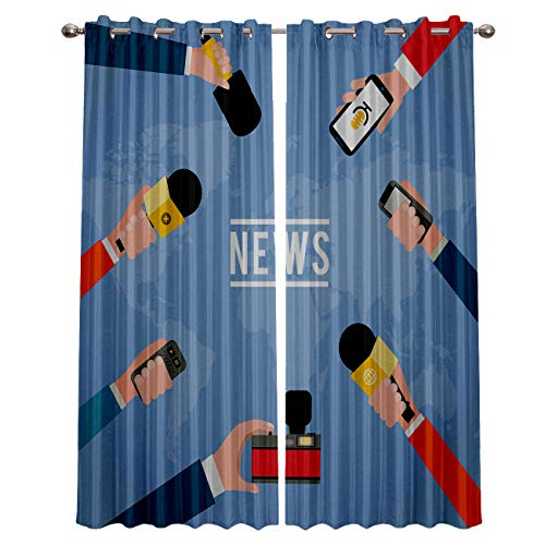 (ZOE STORE Blackout Window Curtains for Kitchen, Cartoon Microphone World Map 2 Panel Window Treatments/Drape for Kids Room/Living Room/Cafe/Bedroom, 80W x 63L inch)
