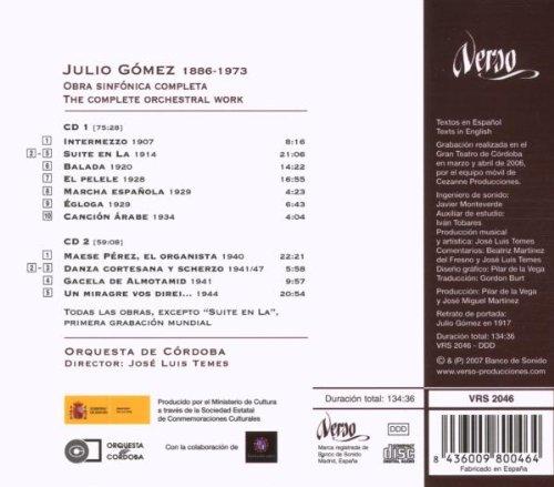 Julio Gomez: Obra Sinfonica Completa: Orquesta De Cordoba, Julio Gomez: Amazon.es: Música