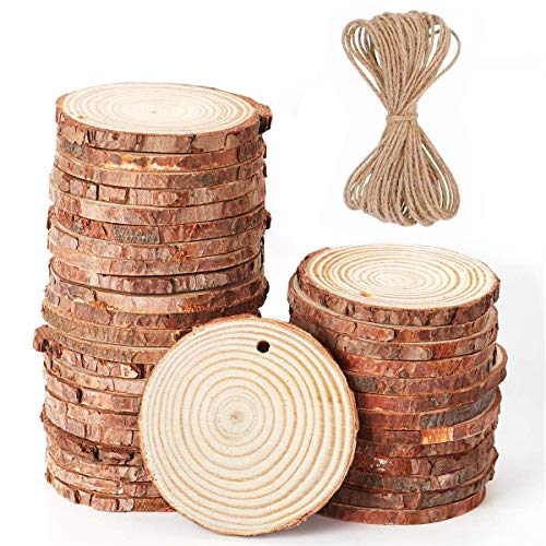 Mayeec Natural 36 pcs Wood Slices with Holes 2.4-2.8 Craft Wood Kit Unfinished Predrilled with Hole Wooden Circles Great for Arts Christmas Wedding Ornaments