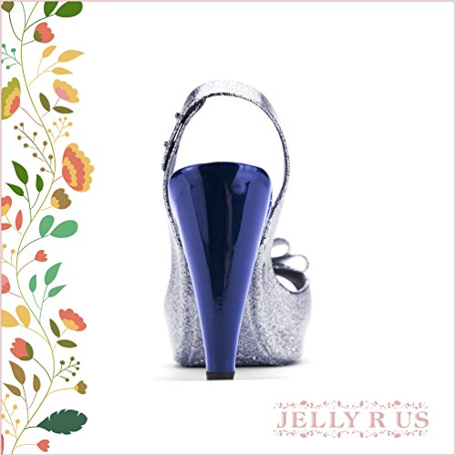 Chemie B816 Vrouwen Peep Toe Mode Enkelband Strikje Glinsterde Sexy Stiletto Hoge Hak Pomp Schoenen Donkerblauw
