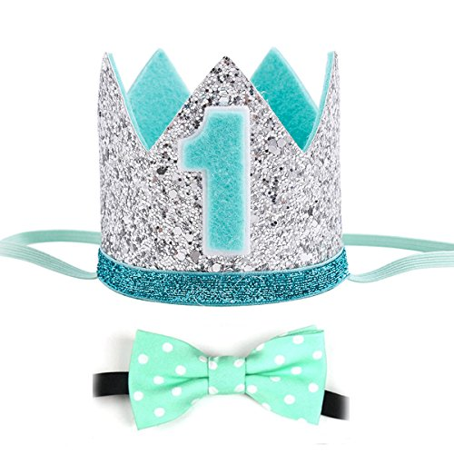 - Maticr Glitter Baby Boy Girl First Birthday Crown & Bow Tie Number 1 Headband Cake Smash Photo Prop (Mint Silver Kits)