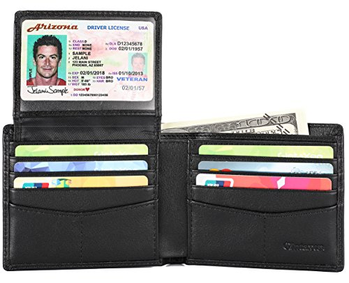 2 Leather Black Wallet (Mens Genuine Leather Bifold Wallet with 2 ID Window and RFID Blocking - Black)