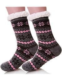 Women's Warm Fleece-Lined Cozy Thick Winter Knee Highs Slipper Socks-Christmas Stockings