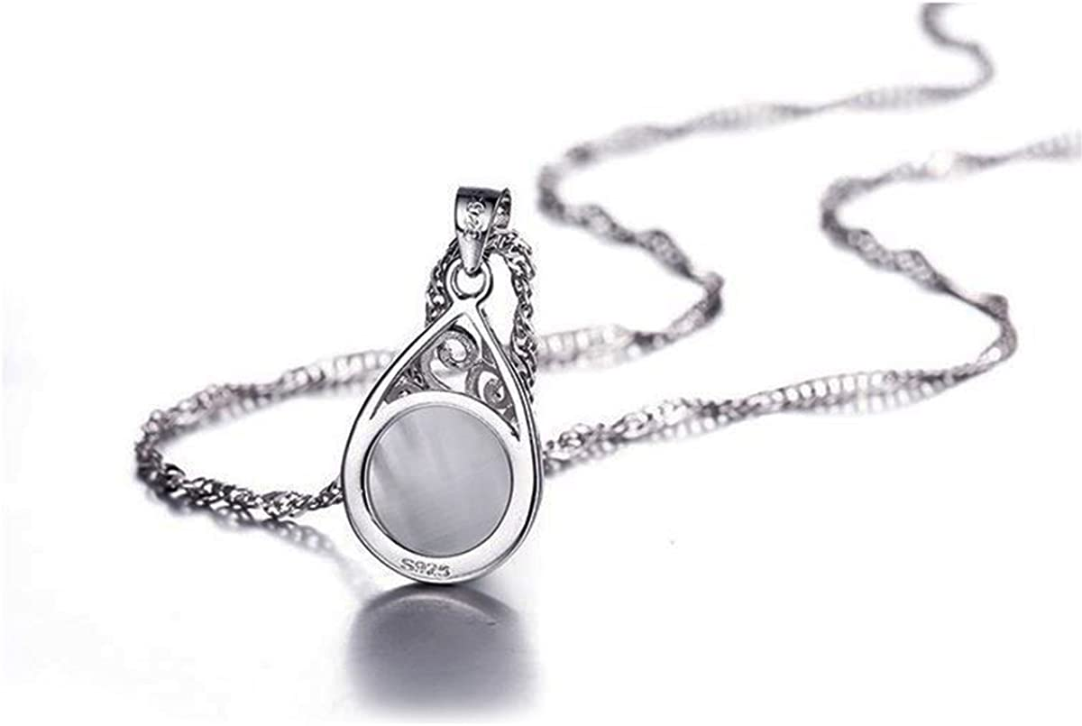 14k White Gold Plated Women Jewelry Set Water Drop Hollow Inlay Artificial moonstone gemstone Pendant Necklace Dangle Earrings Set