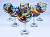 Mexican Glass, Wine, Confetti Swirl, Large (Set of 6) 16 Oz