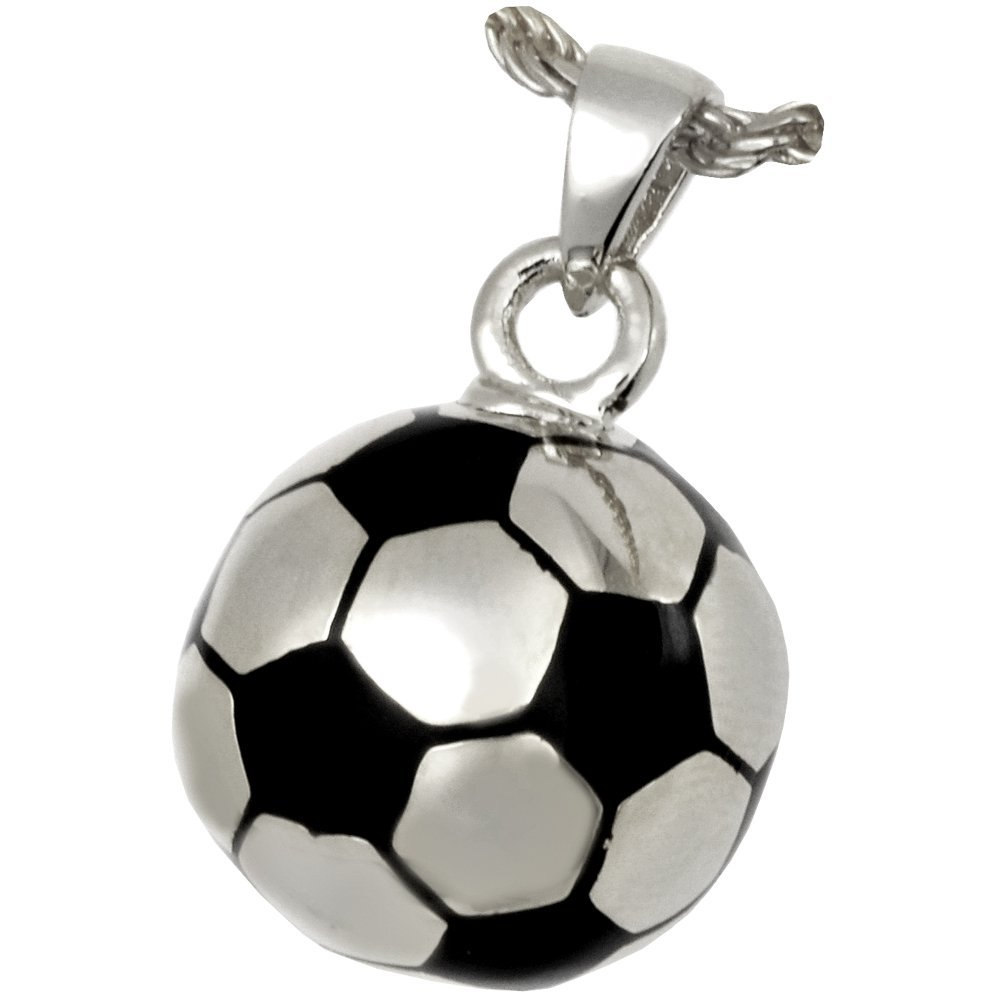 Memorial Gallery 3086s Soccer Ball Sterling Silver Cremation Pet Jewelry
