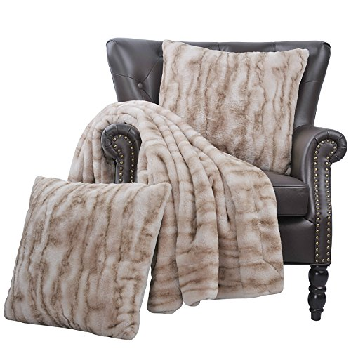 Home Soft Things Raccoon Faux Fur Throw Pillow Combo Set, 50