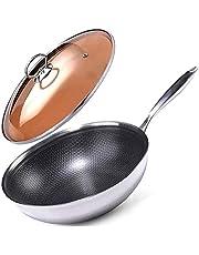 WYCGD Frying pan Wok Household Multifunctional Electric Hot Pot Non-Stick Wok Wok Large Capacity Durable Wok Gas Stove Frying pan