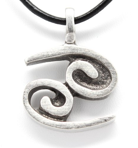 Crab Claw Clasp - Pewter Cancer The Crab Zodiac (June 22-July 21) Astrology Pendant on Leather Necklace