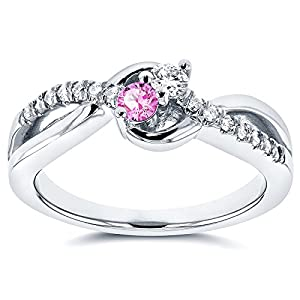"""""""Two"""" Stone Diamond & Sapphire Ring 1/4 ctw in 14k White Gold"""