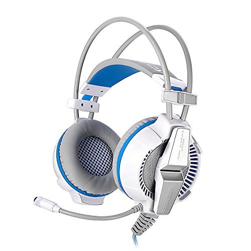 KOTION EACH Gaming Headset for PS4 Xbox One G7000 Headset 7.1 USB Surround Sound Gaming Headphones Microphone Stereo Headset Enhanced Bass LED Light (White Blue)